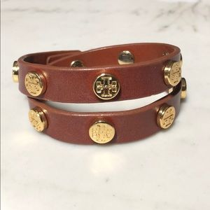 Tory Burch Brown Leather Double Wrap Bracelet